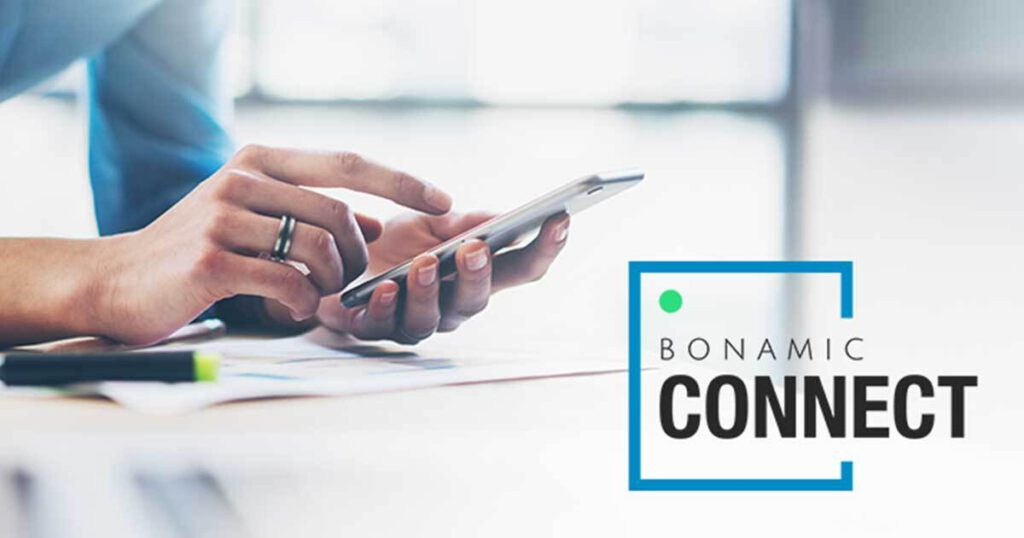 Handy mit Bonamic Connect Logo